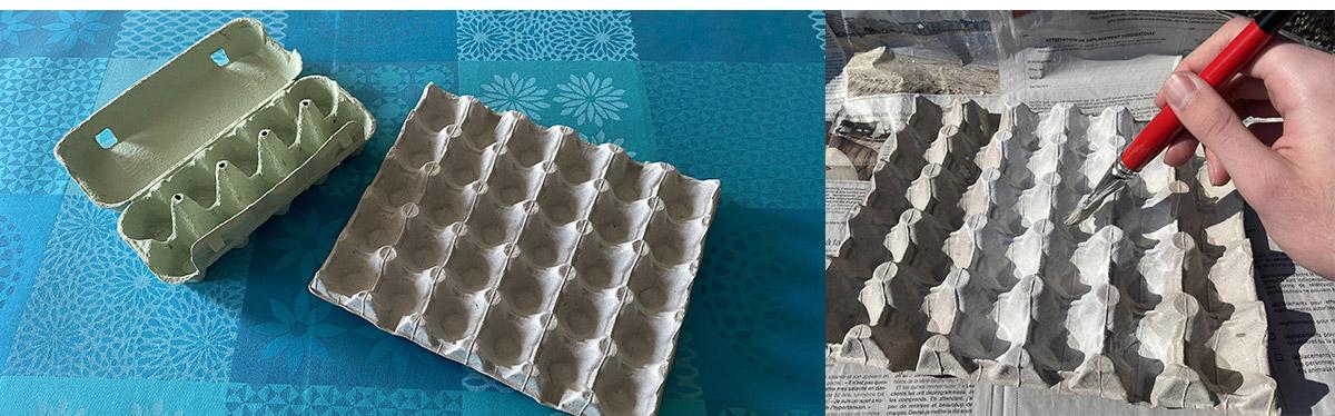 ETAPE 1 : Construire le support en boite d'œufs