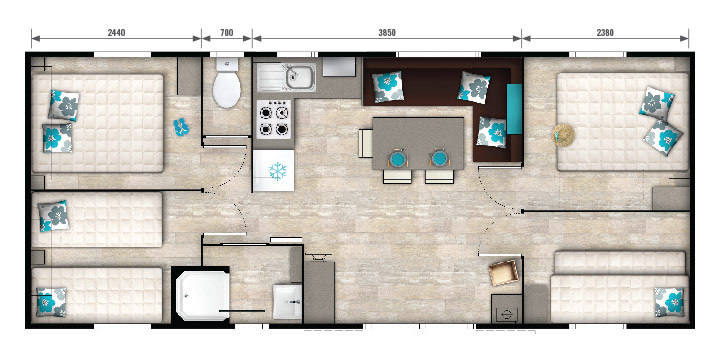 Location mobil home 8 personnes 4 chambres 36 m2 for Mobil home 4 chambres