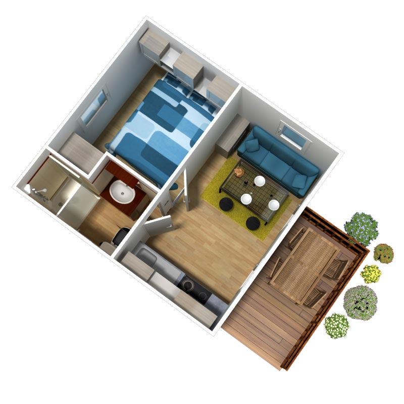 Location mobil home 2 4 personnes 1 chambre vacances for Chambre 3 personnes