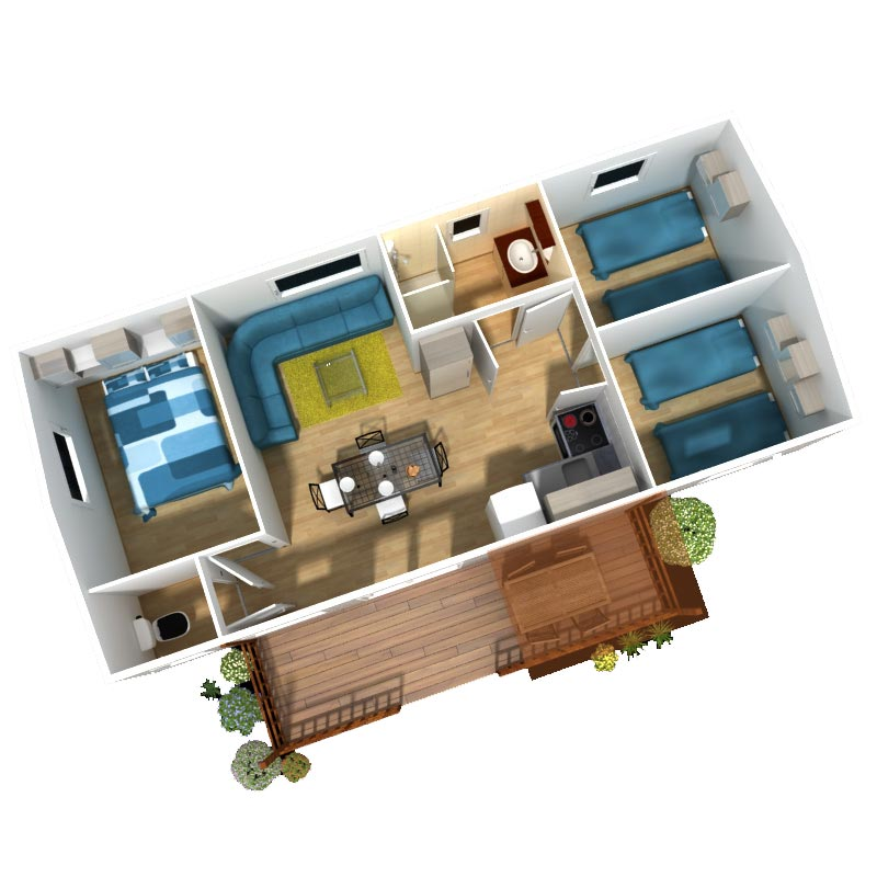Location mobil home 7 personnes 3 chambres 31 m2 for Chambre 3 personnes